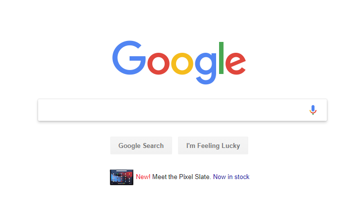 Google is advertising the Pixel Slate on the Google.com homepage