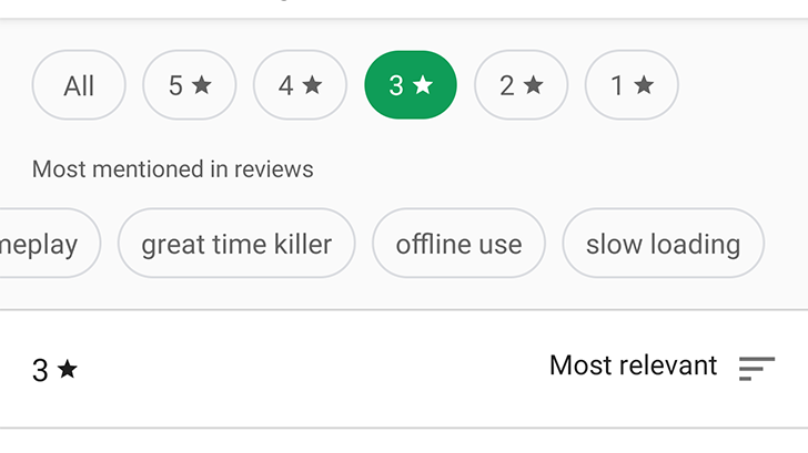 [Update: New top reviews, wider rollout] Google Play Store's redesigned ratings and reviews section lets you easily filter by star rating