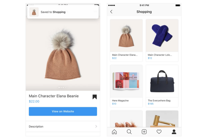Instagram adds 'Shopping collection' for saving items to buy later