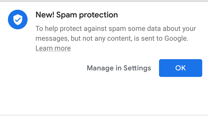Spam protection is going live in Messages for some