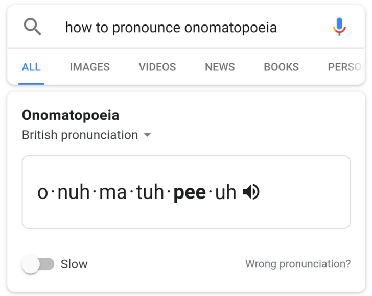 [Update: Now with visemes] Tip: Google teaches you how to pronounce a word slowly and in different accents