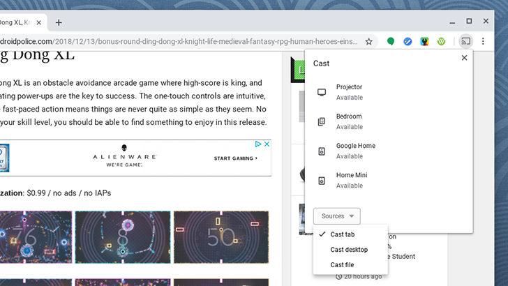 Google testing new Cast UI for Chrome, with new icons and a source toggle
