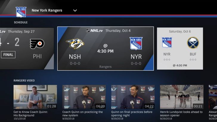 The official NHL app is now available on Android TV