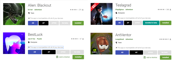 Play Store website is displaying a lot of games as incompatible with all devices