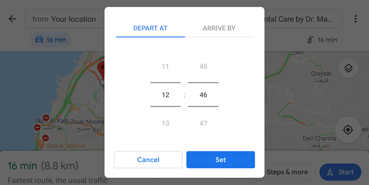 You can finally set a departure time for driving in the Google Maps app on your phone
