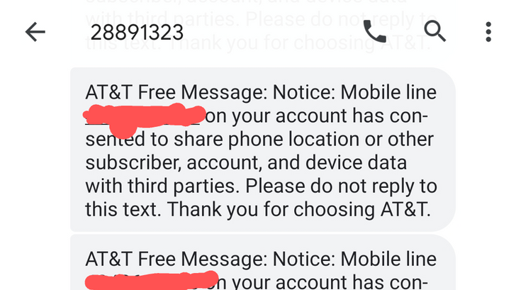 AT&T and Cricket customers receive texts that their location was used by third parties