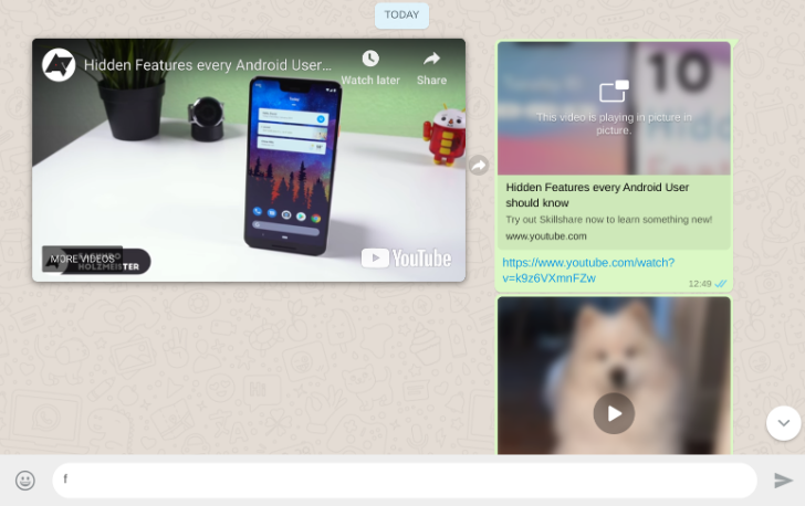 WhatsApp Web adds picture-in-picture video playback for YouTube, Instagram, and Facebook
