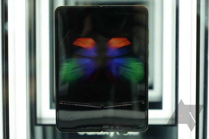 No mere mortal may touch Samsung's $2000 Galaxy Fold, so here it is in a big glass box