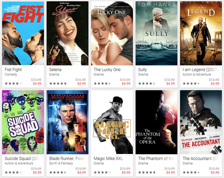 GOOGLE PLAY OFFERS MORE BLOCKBUSTERS MOVIES IN JUST UNDER $5.....