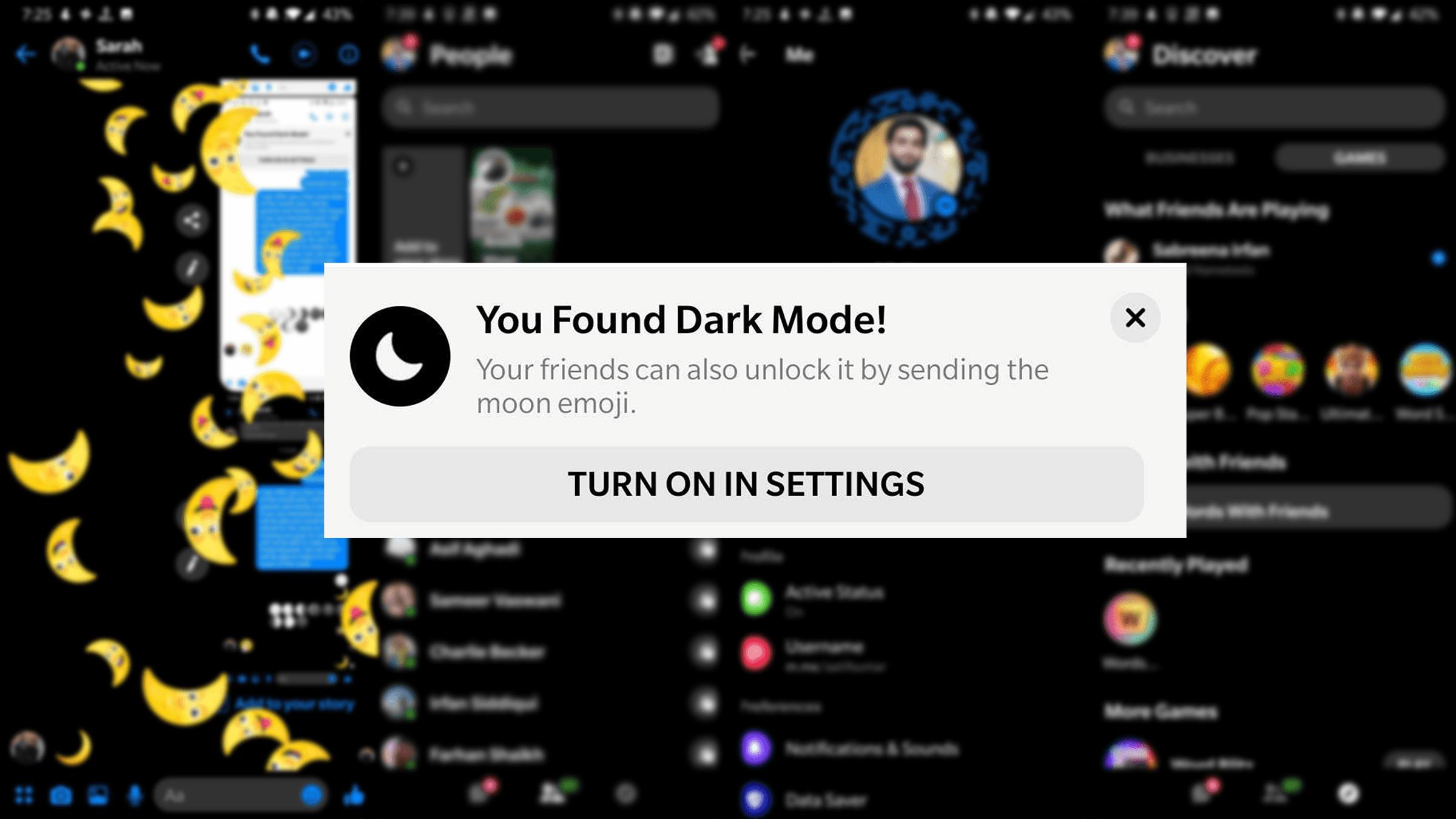 Image result for messenger dark mode
