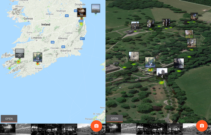 [Update: New separate apps for Google Photos and Drive] Photo Map lets you explore your Google Photos on a world map