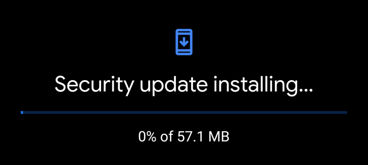 The Pixel update screen now has dark mode, shows progress percentage for some