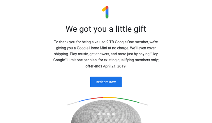 [Update: More countries] Google offers free Home Mini to One subscribers in US, Canada