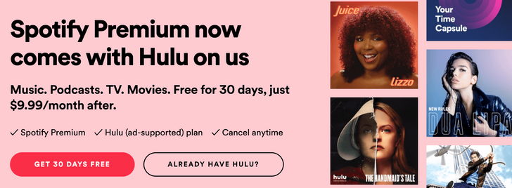 [Update: Working for existing subs] New Spotify Premium subscribers now get Hulu for free