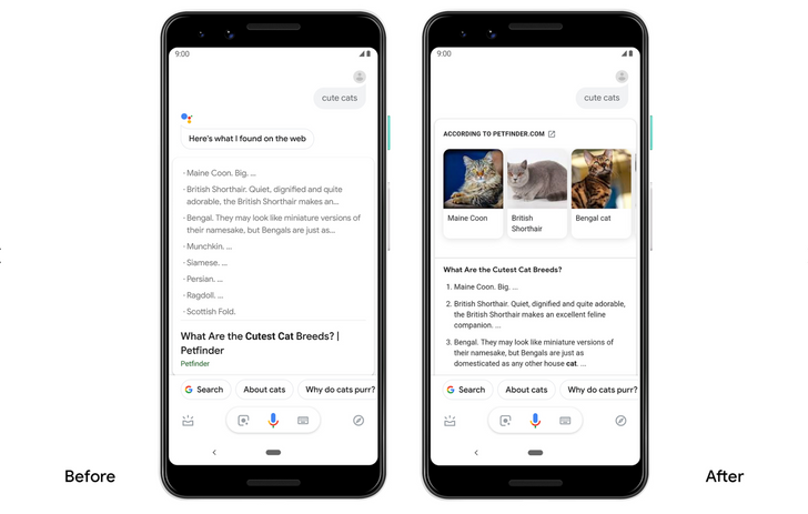 Google Assistant now answers questions with larger cards and more visuals, adds built-in calculators and tools
