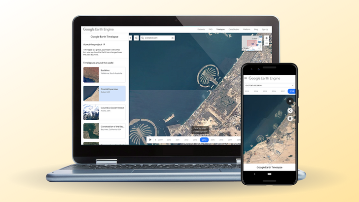 Google Earth Timelapse invites mobile users to zoom through history