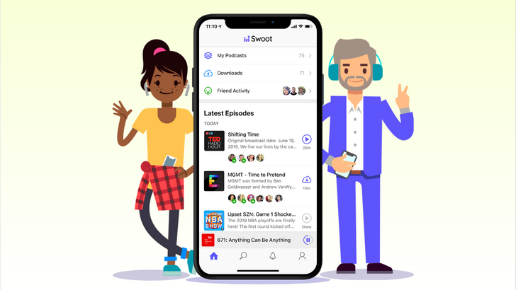 Swoot is a podcast app from the makers of HipChat to hear what all your friends are listening to