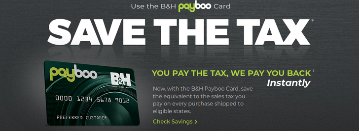 B&H introduces the Payboo credit card to refund the sales tax it never wanted to collect in the first place