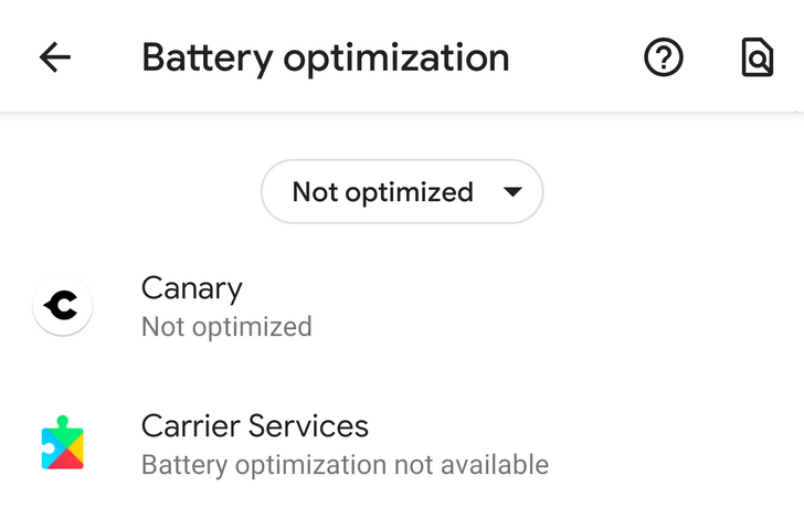Battery optimization menu is crashing on Android Q Beta 3