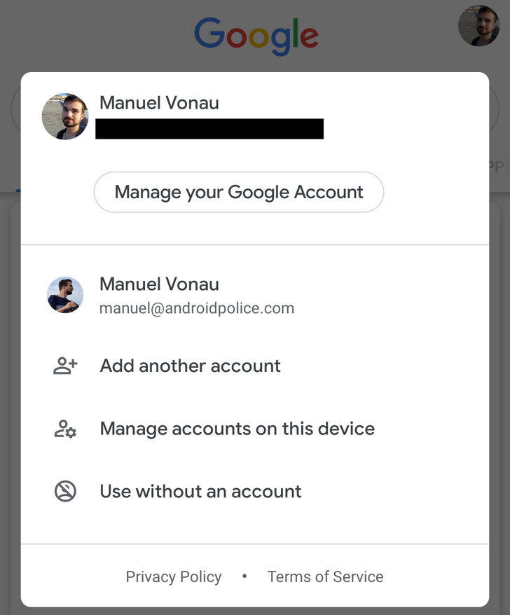 Google Search gets new account picker with Incognito mode
