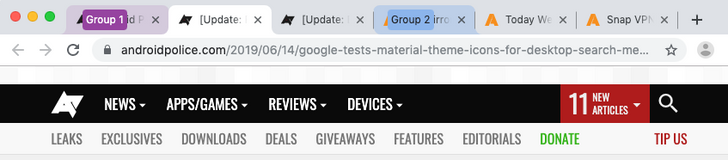 Google Chrome desktop's Tab Groups feature gets colorful, Send to Self teases history list