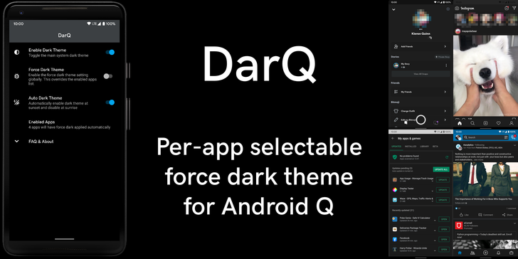 DarQ lets you control dark mode on a per-app basis on rooted Android Q phones