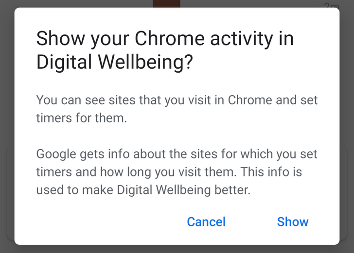 Digital Wellbeing integrates with Chrome Canary to enable website usage limits
