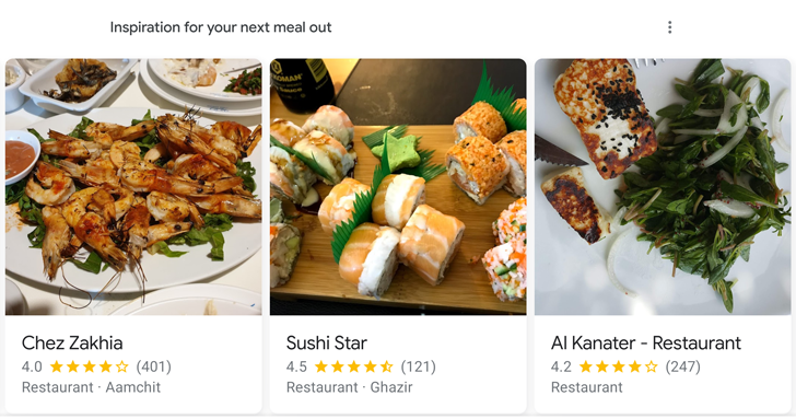 Google Discover feed starts showing restaurant recommendations