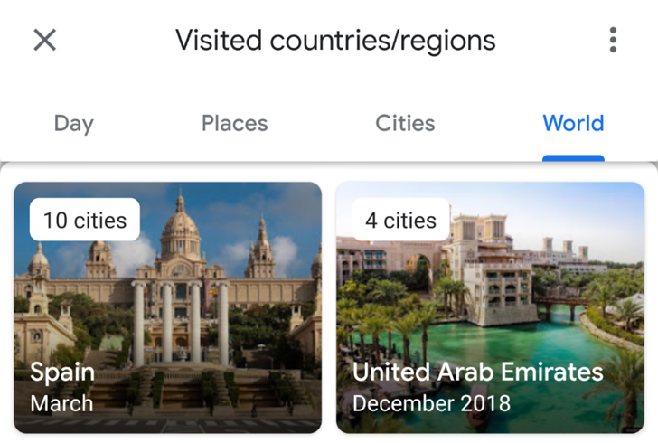 Visually enhanced Google Maps timeline groups visited places by category, city, and country [APK Download]