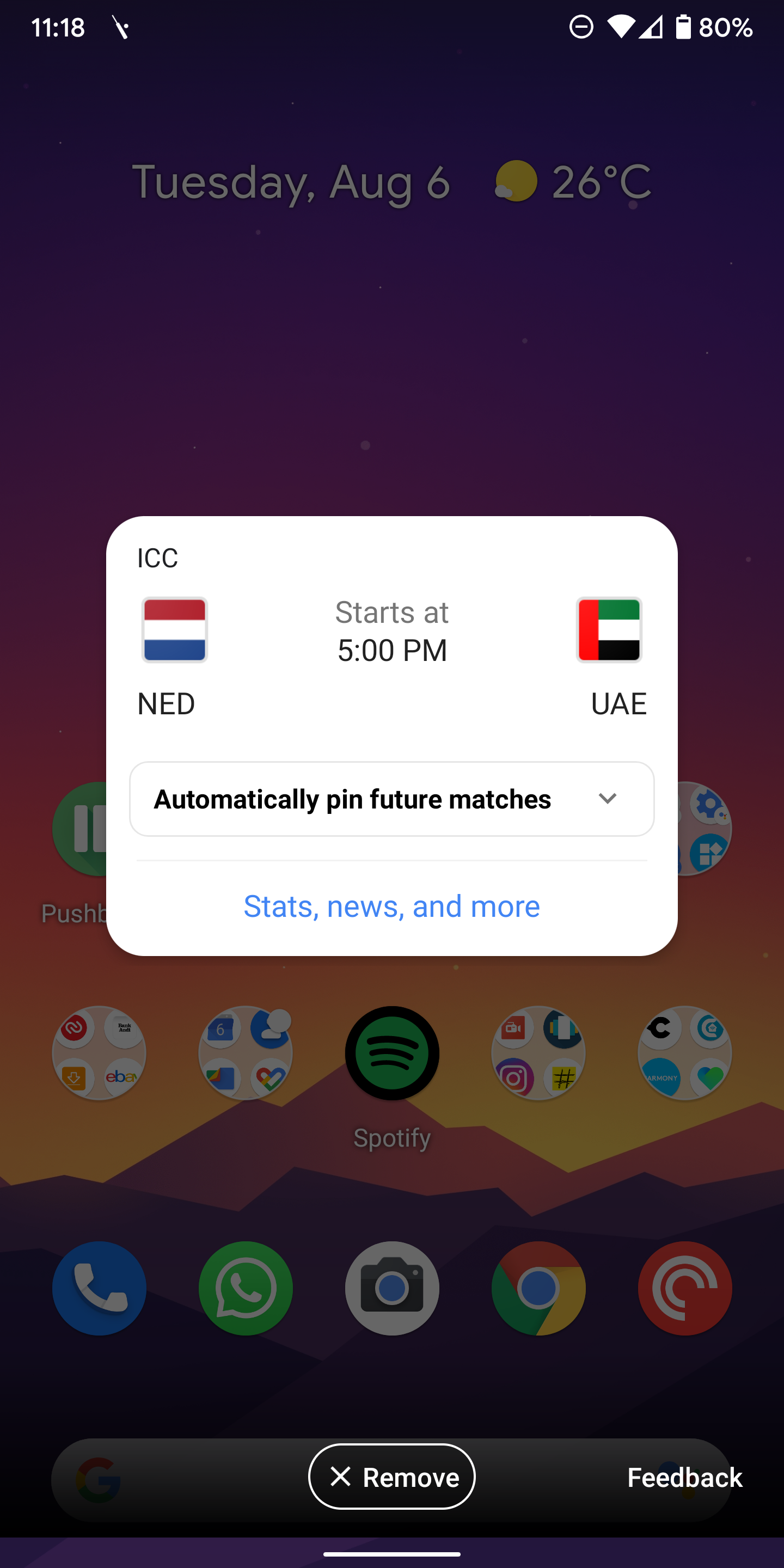 Google automatically pins live scores for your favorite team's ...