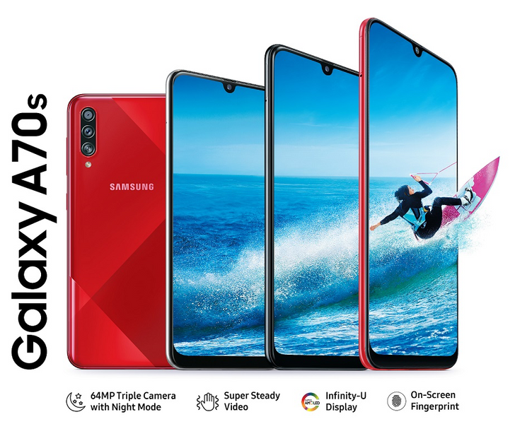 Samsung Galaxy A70s packs 64MP camera, Dolby Atmos audio, and 4,500mAh battery for ₹29,000 ($410)
