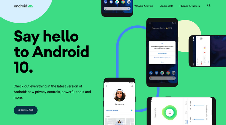 Android website updated for Android 10