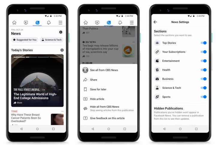 Facebook starts testing dedicated Facebook News feed