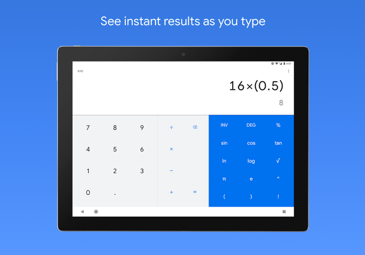 Google's Calculator reaches 500 x 1,000,000 installs on the Play Store