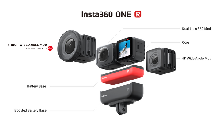 Insta360 One R is a modular 360 and action cam with IPX8 waterproofing, USB-C, and a 1-inch Leica sensor
