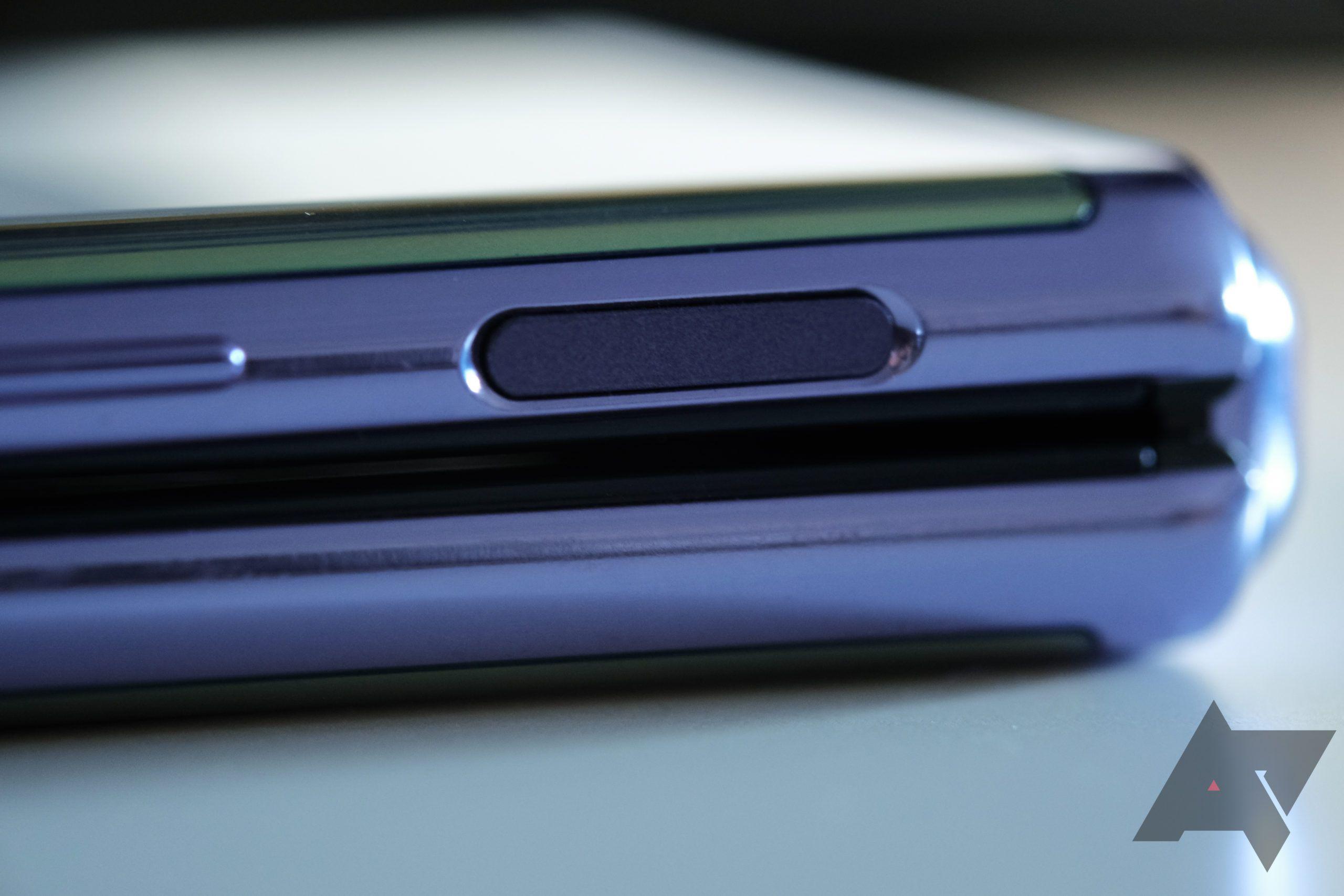 Galaxy Z Flip fingerprint sensor close-up.