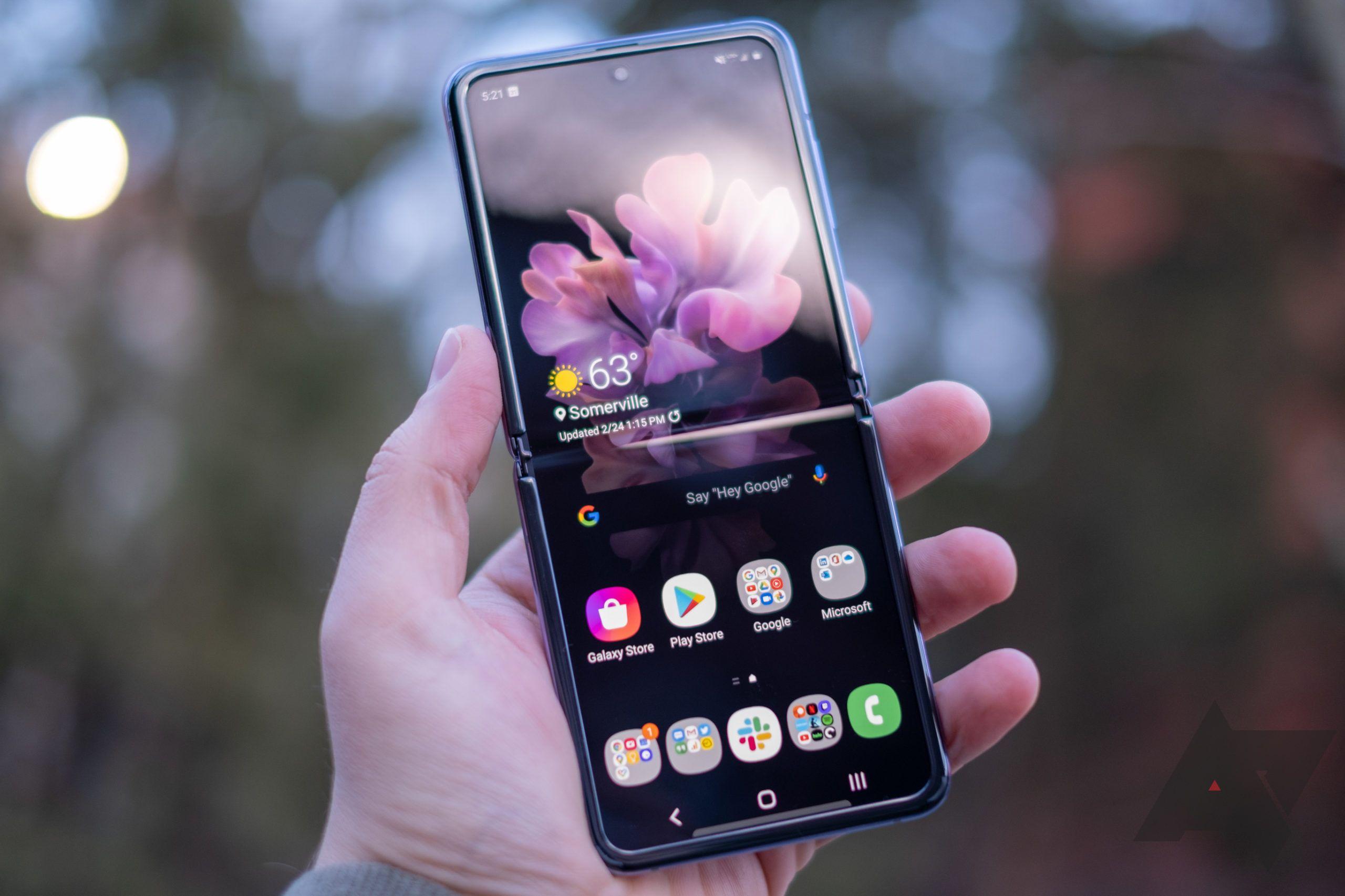 Galaxy Z Flip in-hand.