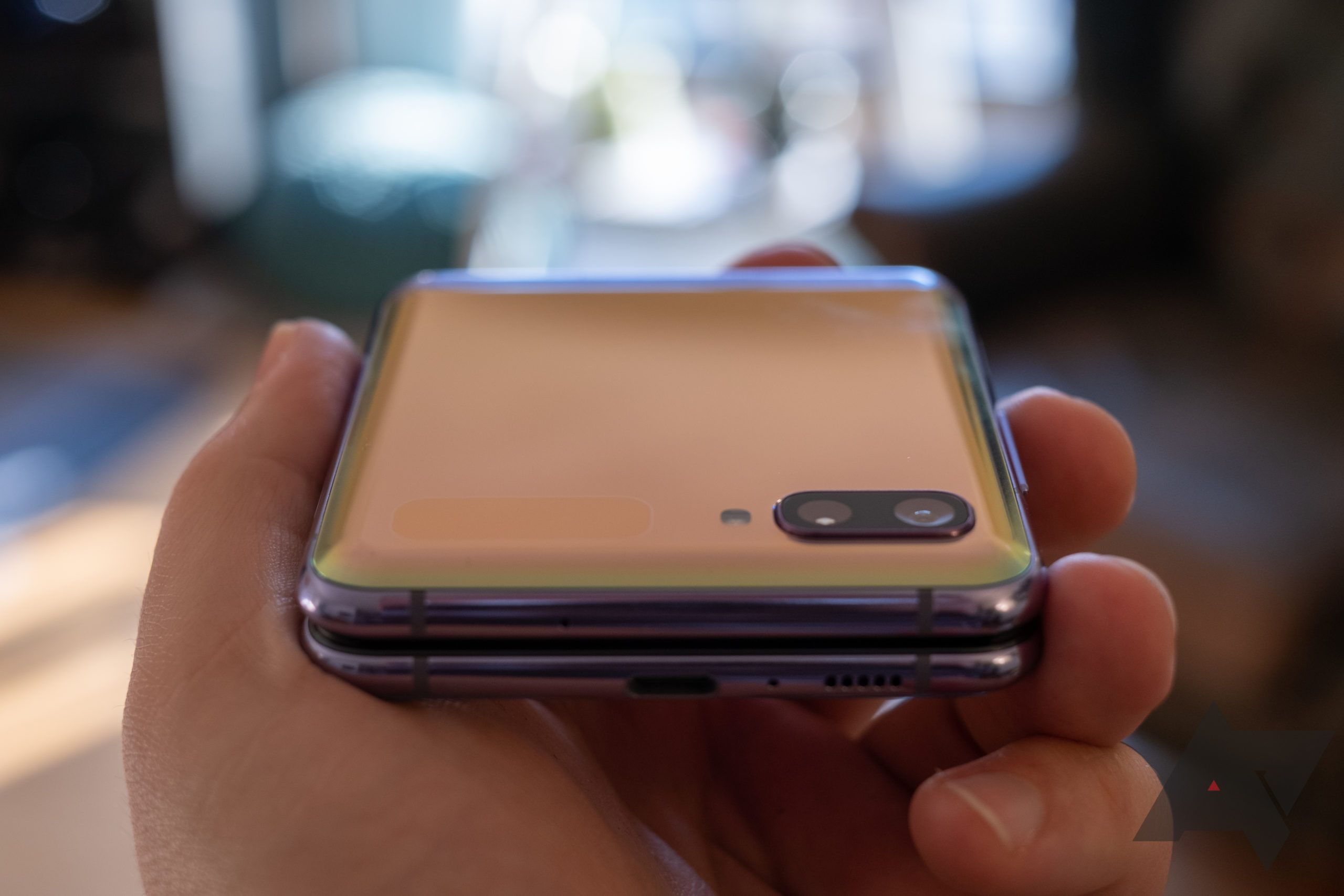 Galaxy Z Flip closed at an angle, showing off the color-changing attributes.