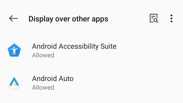Granting overlay permissions in Android 11 takes one more tap