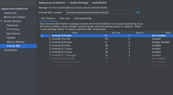 Android R Preview SDK shows up in Android Studio
