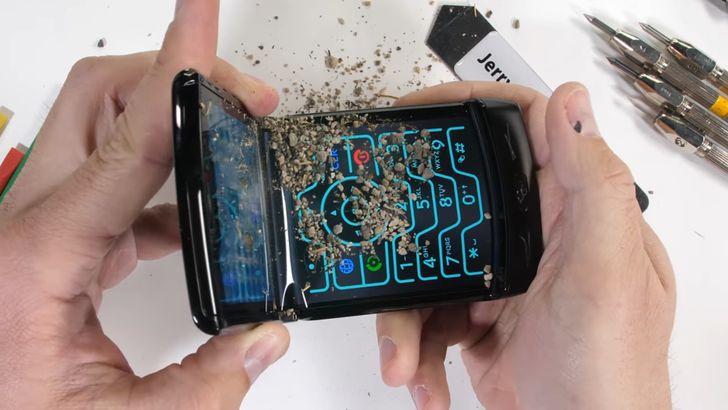 Motorola Razr meets pocket sand in JerryRigEverything's durability test