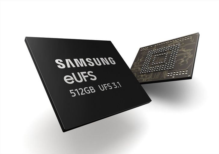 Samsung begins mass producing faster 512GB eUFS 3.1 storage chips