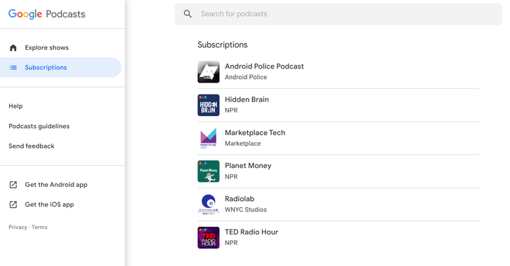 Google Podcasts web improves with subscriptions, sorting, and more