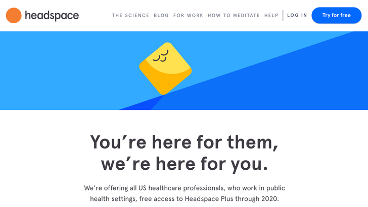 Headspace offers a free year of premium membership to healthcare professionals and those who lost their jobs