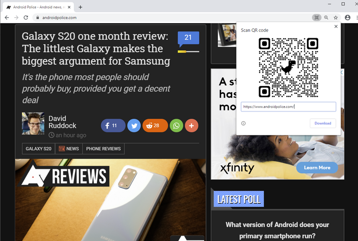 Chrome QR-code sharing feature goes live in Canary (with a little dino help)