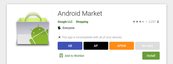 The Android Market is still on the Google Play Store, complete with an app description from 2012