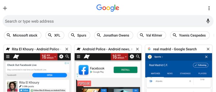 Chrome's crowded grid tab switcher gets trending search suggestion chips