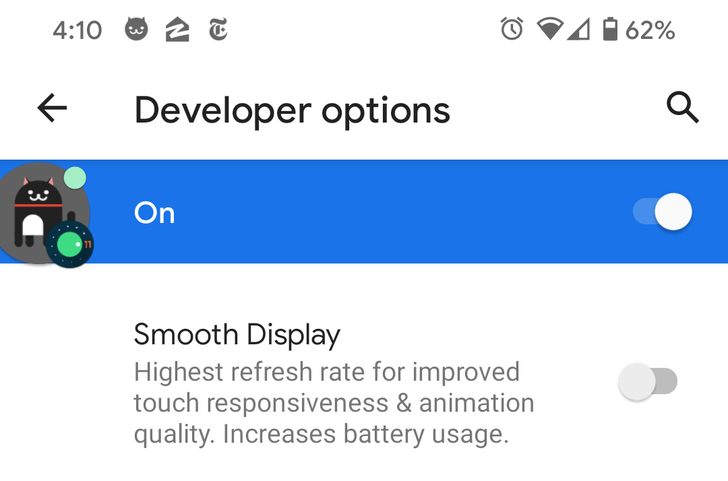 Option to force 90Hz refresh rate on Pixel 4 is back in Android 11 Beta 3