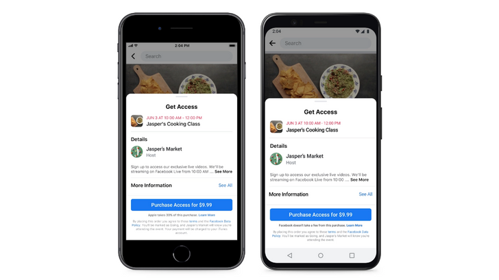 Facebook launches paid online events, waives fees for 'at least the next year'