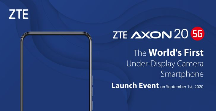 ZTE to unveil first phone with under-display camera next month, the Axon 20 5G